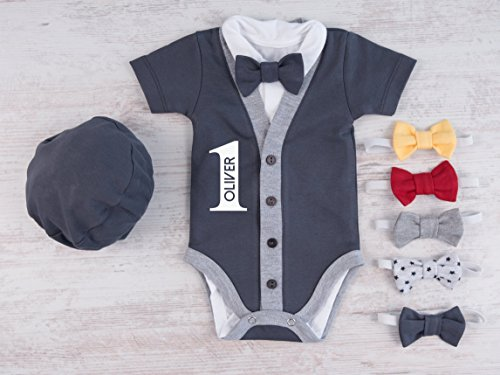 1st Birthday Outfit Boy.1st Birthday Outfit Boy Set Of 4 Personalized Cardigan Bodysuit Hat And Bow Tie