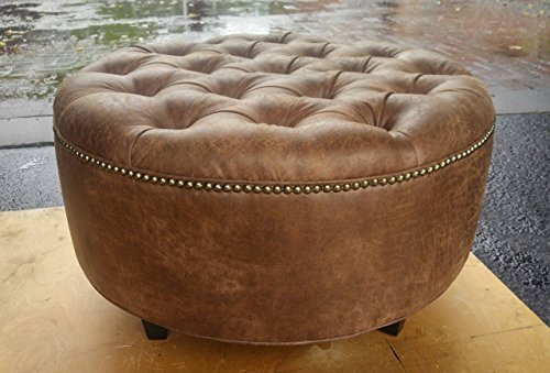 30″ Distressed Vegan Leather, Tufted Coffee Table Ottoman