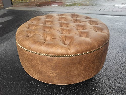 30 Distressed Vegan Leather Tufted Coffee Table Ottoman