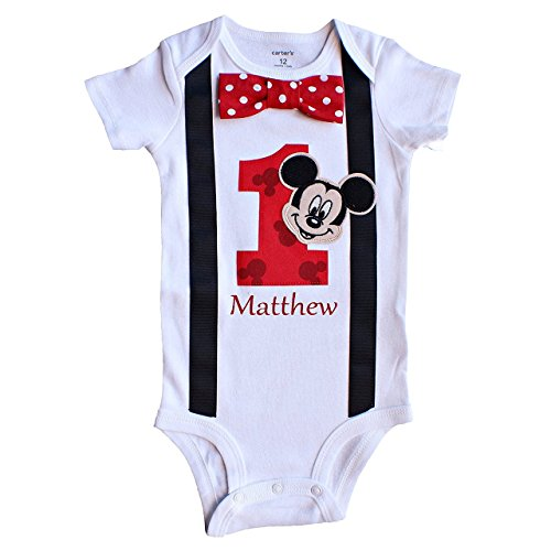 Baby Boys 1st Birthday Outfit Mickey Mouse Bodysuit Personalized