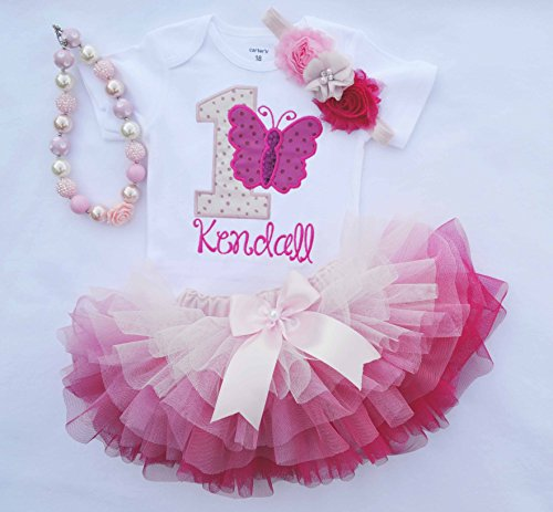 1st Birthday Outfit Girl.First Birthday Outfit Girl Butterfly Birthday Outfit Girls Cake Smash Outfit Girls 1st Birthday Dress Pink Ombre Tutu One Year Old Birthday