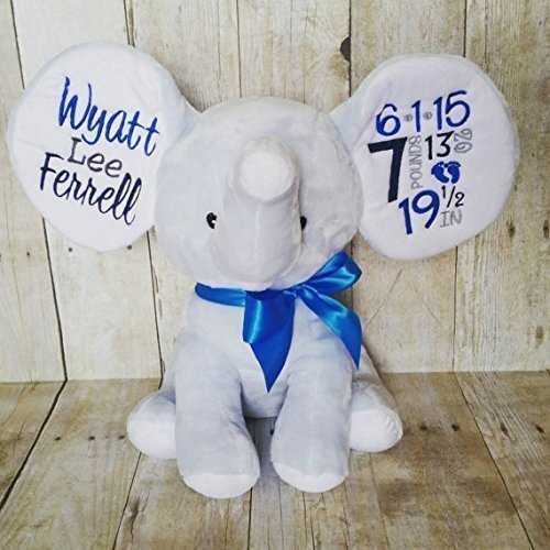 Personalized Elephant Embroidered With Birth Facts Or Personalized Baby Cubbies Brand C Your Choice Of Color Elephant Embroidery Color Font Style