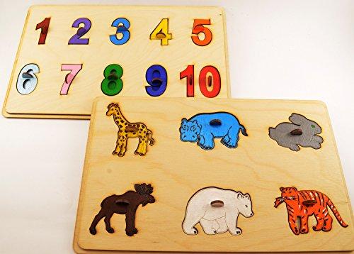 Set 2 Wooden puzzle Toddler toys Montessori toys Wooden ...